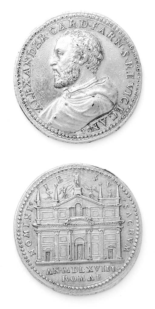 Cardinale Farnese, bronzo dorato, 38-39mm., opus Gianfederico Bonzagna, busto a sinistra, rov. NOMINI IESV SACRVM, facciata della Chiesa del Gesù in Roma (Arm.I,223,10), BB