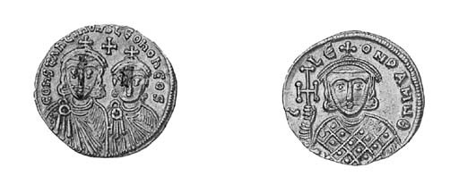 Solidus, facing busts of Leo I