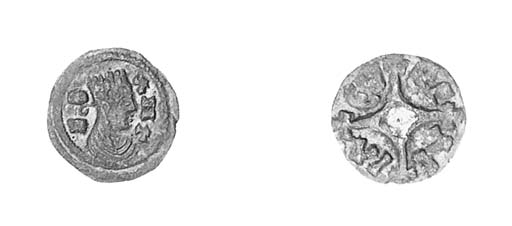 Silver, 0.60g., draped and cro