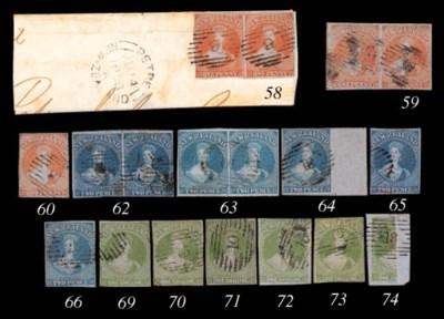 used  2d. blue, a pair, Row 8,