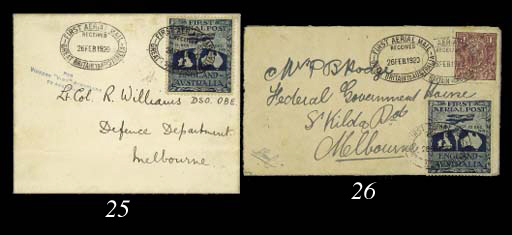 Air Mail cover 1920 (26 Feb.)