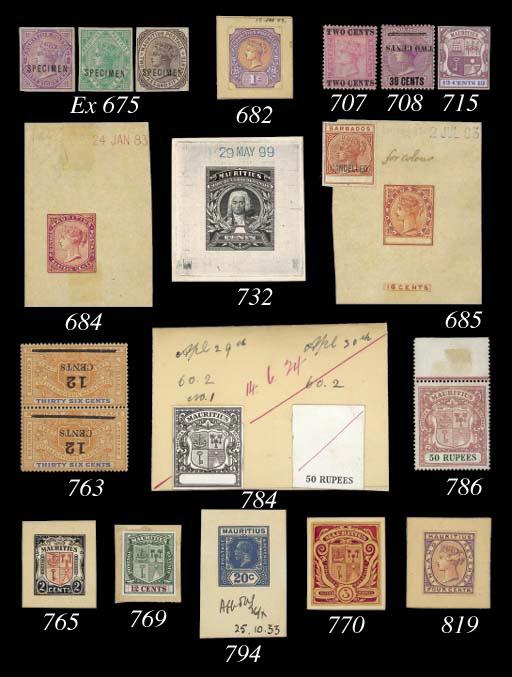 Proof  50r. stamp-size die pro