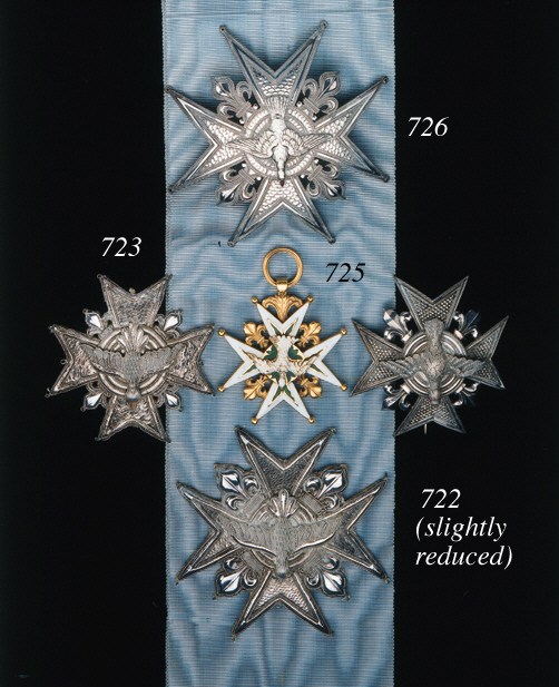 Order of the Holy Spirit, Knight's Star, 99 x 99mm., silver, heavenly dove with enamelled beak and eyes, with pierced ball finials, reverse with clip and two support prong fittings, unmarked, Restoration period, nearly extremely fine