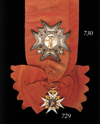 Royal and Military Order of St. Louis, Grand Cross Star, 97 x 97mm., cloth, embroidered in silver wire and sequins with silver fleurs de lis between the arms and a central plate bearing a gold figure of the saint, paper backing bearing the manufacturer's paper disk, 'Dieu, Bijoutier de S.A.S.Ms. Le Duc d'Orleans, & du Ministère de la Guerre, Palais Royal, No.45, Galerie de Richelieu, a Paris', silver fleurs de lis slightly crumpled, minor damage to paper reverse, good very fine