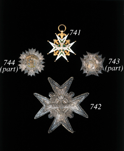TWO SICILIES, Order of St. Januarius (2), Star, 72 x 72mm., cloth, embroidered in silver wire and sequins, paper backing, part of legend missing, minor damage to edging, some damge to paper backing, nearly very fine; another, 54 x 54mm., cloth, embroidered in silver wire and sequins, paper backing, minor damage to edging and paper, good very fine (2)