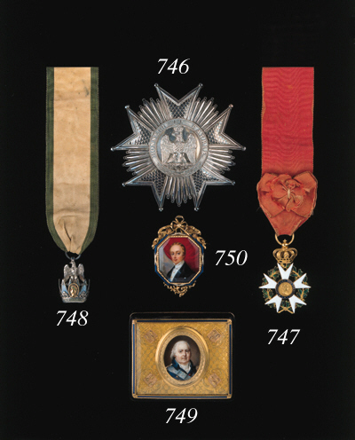 FRANCE, FIRST EMPIRE, Legion of Honour, 3rd type Officer's breast Badge, gold and enamel, unmarked, minor enamel damage to wreath, good very fine, with bow on riband