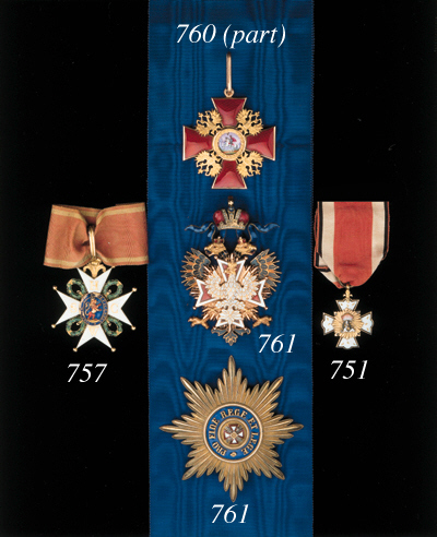 """Order of the Phoenix, Knight's breast Badge, 1770-95 type, 41 x 32mm., gilt and enamel obverse: a gilt starburst with a Phoenix in white enamel; reverse: a gilt starburst bearing the crowned cypher """"CA"""" of Carl Albrecht, unmarked, enamel damage to Pheonix and cypher, very fine, with riband"""