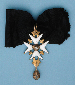 Sovereign Military Hospitaller Order of St. John of Jerusalem, Rhodes and Malta, a rare and important neck Badge dating from the second half of the 17th century, gold and enamel Maltese cross, 48mm., obverse in white enamel, the reverse in black, with stylized fleurs de lis between the arms, with decorative gold work above through which a gold suspension loop passes, at the obverse centre a raised gold circlet supporting a colourless stone and with decorative gold work below supporting a gold pear-shaped pendant fitted with a colourless stone, unmarked, cracks and minor damage to white enamel, very fine