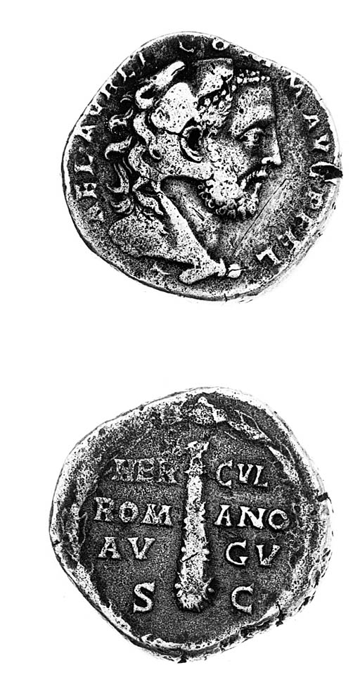 Sestertius, head right in lion