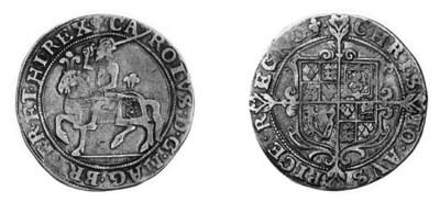 Charles I, type 1a1, Halfcrown