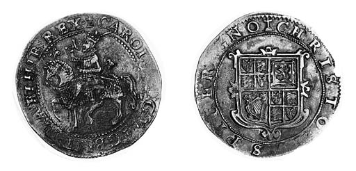 Charles I, type 1a3, Halfcrown