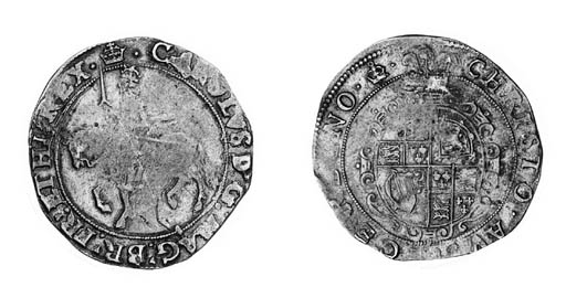 Charles I, type 3b, Halfcrown, m.m. crown/crown over bell, king on horseback left, rev. oval garnished shield, plume above (N.2210; S.2772), weakly struck on horseman and a little off centre, otherwise almost very fine, rare