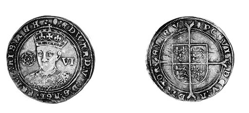 Edward VI, third period, Sixpe