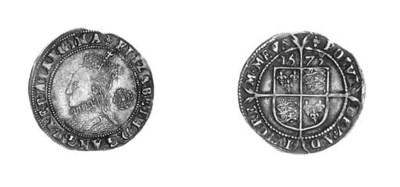 Elizabeth I, Sixpence, third i