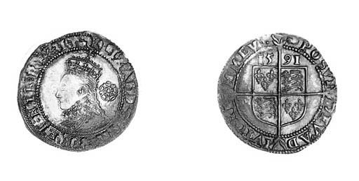 Elizabeth I, sixpence, fifth i
