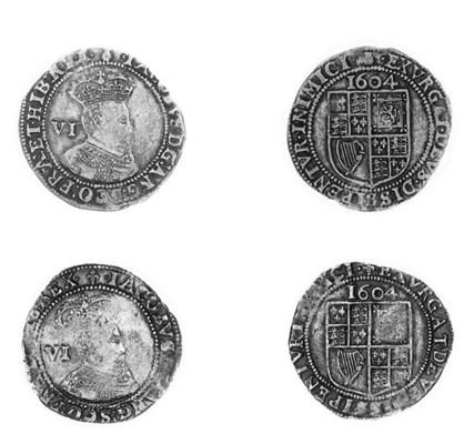 James I, Sixpences (2), 1604,
