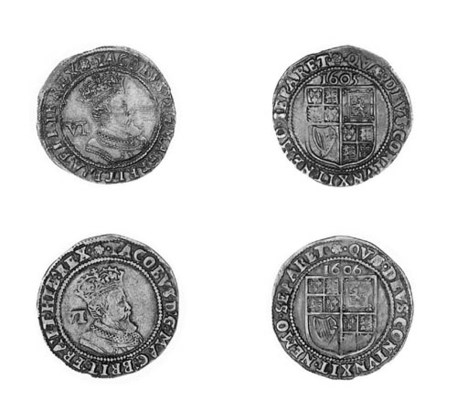 James I, Sixpences (2), 1605,