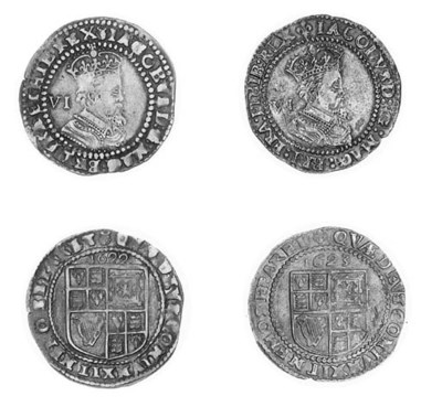 James I, Sixpences (2), 1622,