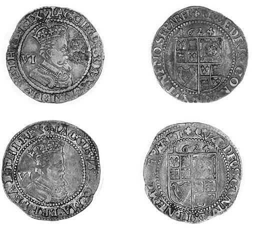 James I, Sixpences (2), 1624,