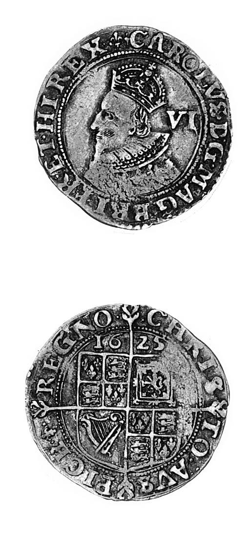 Charles I, Tower, Sixpence, gr