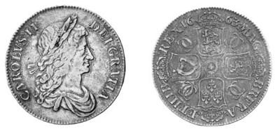 Charles II, Crown, 1663, first