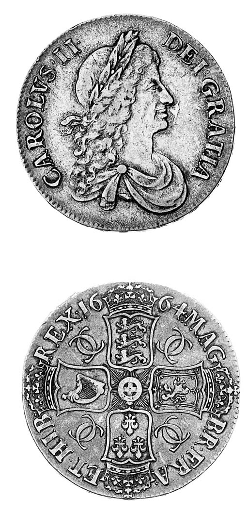 Charles II, Crown, 1664, secon
