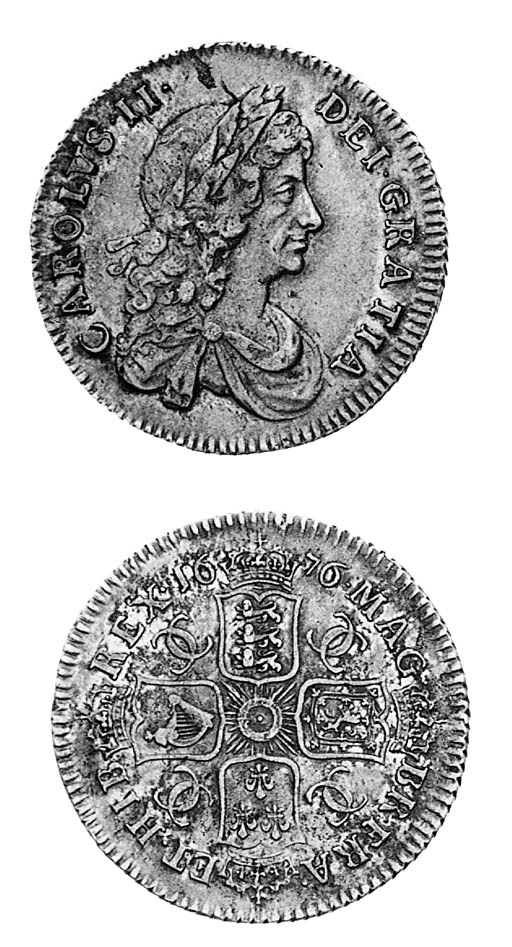 Charles II, Shilling, 1676, se
