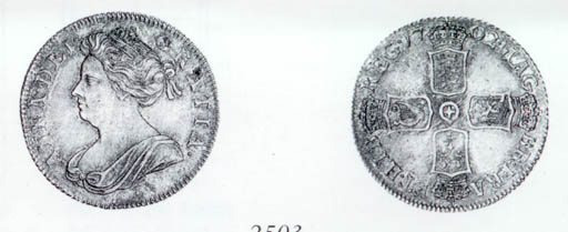 Anne, Shilling, 1702, draped b