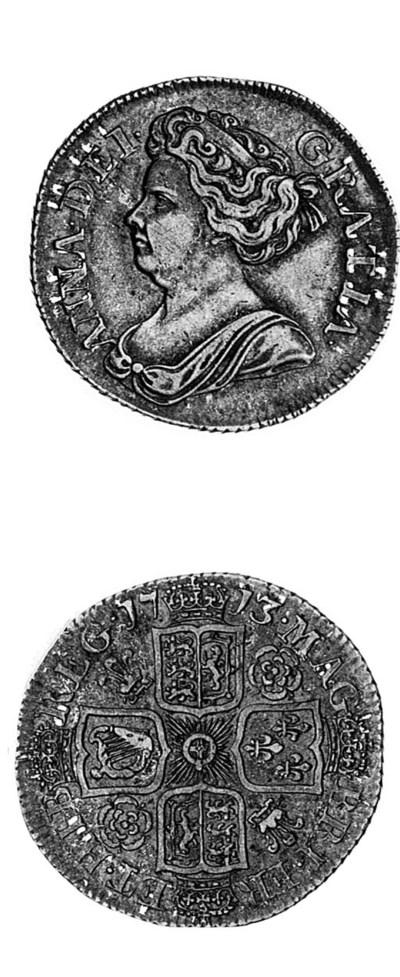 Anne, Shilling, 1713, 3 over 2