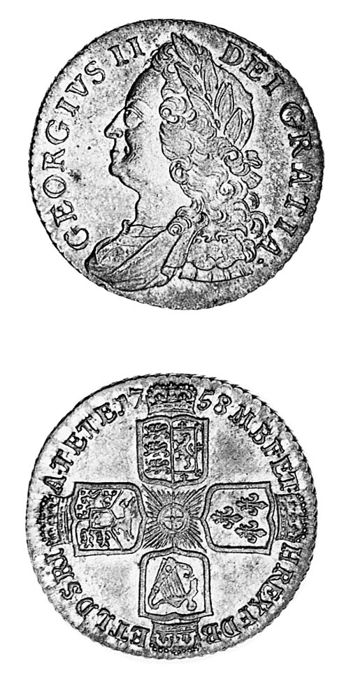 George II, Shilling, 1758, sim