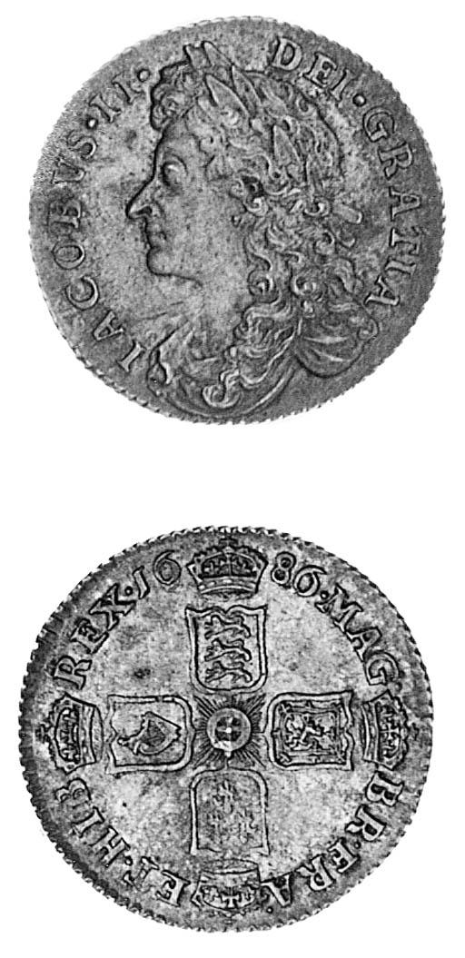 James II, Sixpence, 1686, laur