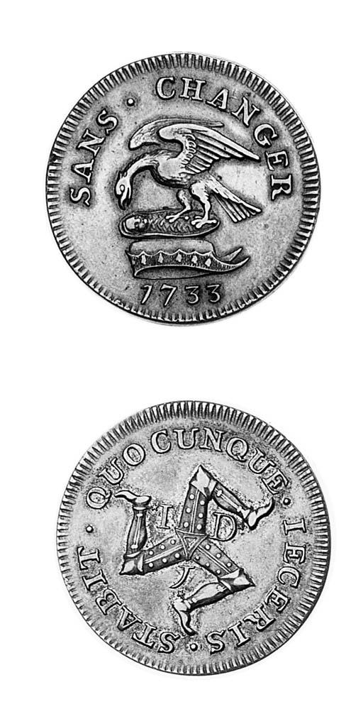Proof penny, 1733, struck in s