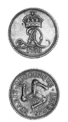 Proof penny, 1758, struck in s
