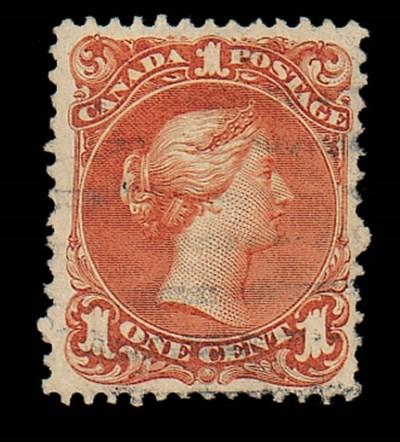 used  1c. red-brown watermarke