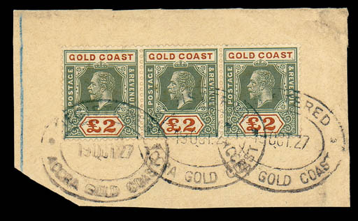 on piece  1921-24 £2 green and