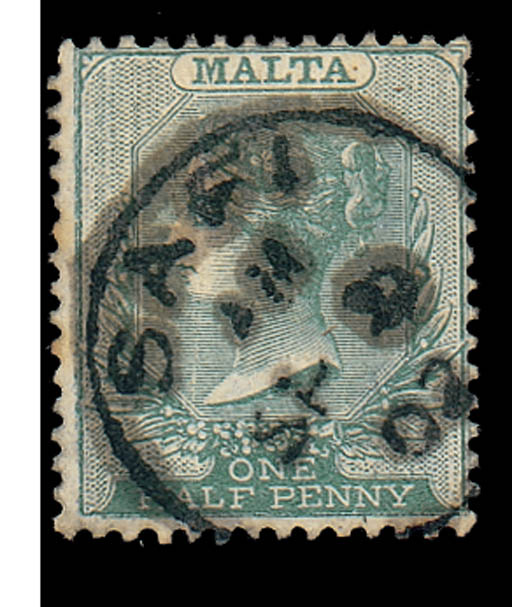 used  1885-90 ½d. green with a