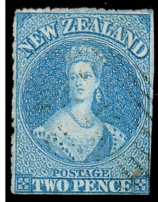 used  -- 2d. blue with serrate