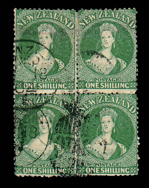 used Block of Four  -- 1/- dee