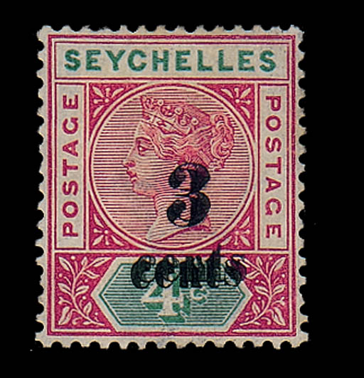 unused  3c. on 4c. showing variety surcharge double; very light corner crease otherwise fine mint. S.G. 15b, £475. Photo