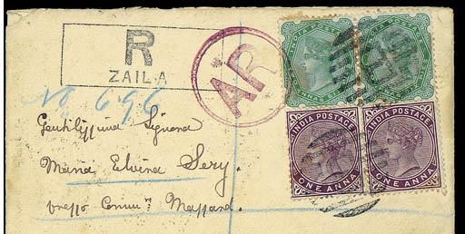 "cover 1895 (12 Oct.) envelope registered to Italy, bearing 1882-88 1a. pair and 1892 2a.6p. pair tied by two strikes of ""B"" in bars, showing framed ""R/ZAILA"" h.s., circular-framed ""AR"" in purple with, on reverse, ""ZAILA"" c.d.s. and Aden ""REG"" transit d.s. (16.10). A rare and most attractive franking. Photo"