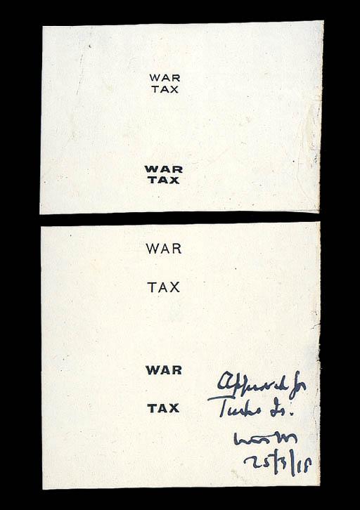 essay Proof  1918 War Tax over