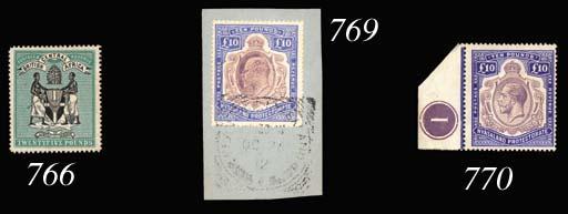 on piece  1908-11 £10 purple a