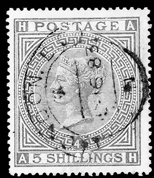 1882, 5sh Rose on bluish (90,