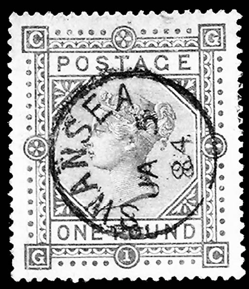 1882, £1 Brown Lilac on bluish