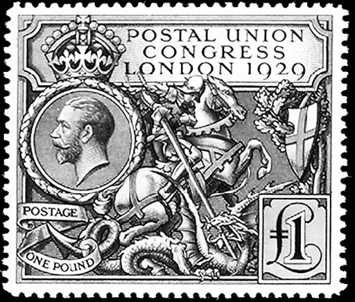 1929, £1 Black, Postal Union C