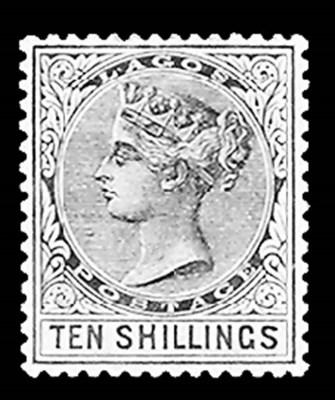 Lagos, 1886, 10sh Brown Violet