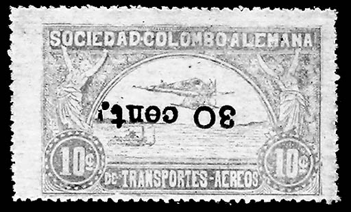 Colombia, 1921, 30c on 10c Yel