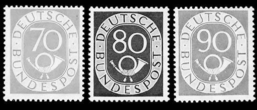 Germany, 1951-52, 2pf-90pf Pos