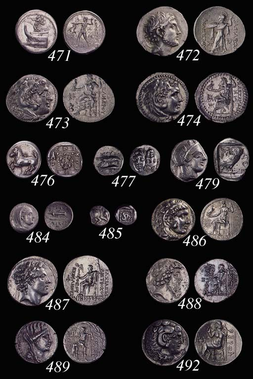 Southern Arabia, Mineans (2nd Century BC), AR Tetradrachm, 16.58g., head of Hercules right, reverse, beardless seated figure of Zeus left, holding sceptre and flower, Himyarite legend (=Abyatha) behind throne, Himyarite character (Alif) in field to right of Zeus (BMC pl. L5; S.6128),  well centered, good very fine, extremely rare and interesting