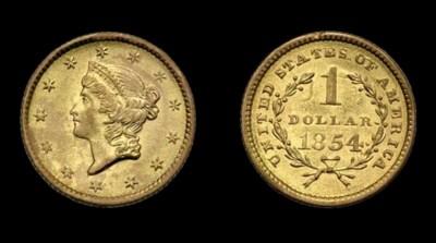 $1, 1854 Type I. AU-58 (PCGS).